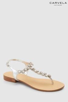 Carvela Bebe 2 Sandale aus Leder, silberfarben