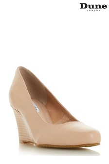 Dune Ladies Nude Wide Fit Unlined Stacked Wedge