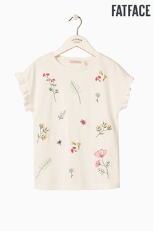 FatFace Natural Embroidered Floral Tee