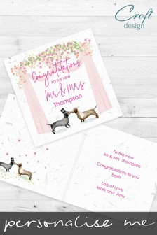 Personalised Daschund Wedding Card by Croft Designs