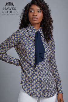 Hawes & Curtis Yellow And Blue Tile Print Shirt With Contrast Tie