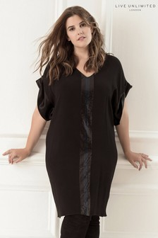 Live Unlimited Black Kimono Sleeve Dress With Sequin Trim