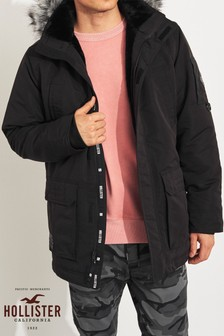 Hollister Black Faux Fur Parka Jacket