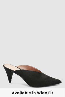 Мюли с высоким вырезом на конусообразном каблуке