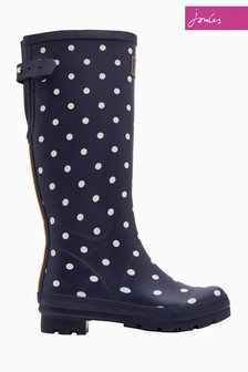 Joules Navy Spot Print Welly