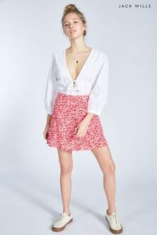 Jack Wills Red Harriet Button Through Floral Skirt