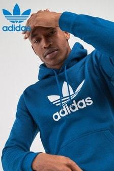 Sweat à capuche avec logo trèfle adidas Originals bleu