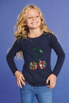 Cherry Sequin Long Sleeve T-Shirt (3-16yrs)
