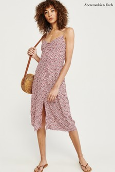 Abercrombie & Fitch Red Print Midi Dress
