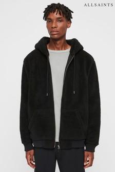 Čierna bunda na zips s umelou kožušinou AllSaints