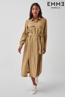 Emme by Marella Beige Avi Linen Shirt Dress