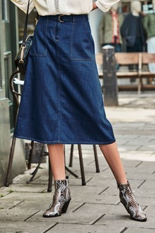 Belted Denim Midi Skirt