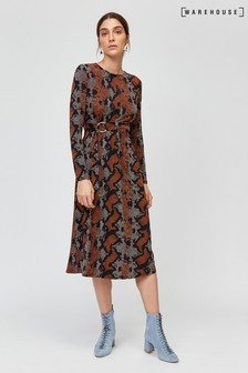 Warehouse Brown Snake Print Midi Dress
