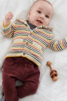 Stripe Knitted Hooded Cardigan (0mths-2yrs)