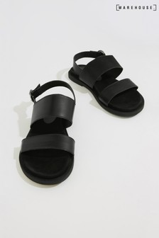 Warehouse Black Double Strap Footbed Sandal