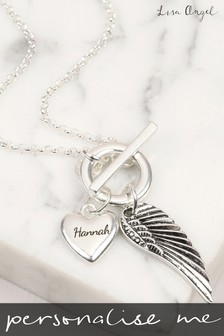 Personalised Long Wing And Heart Toggle Necklace by Lisa Angel