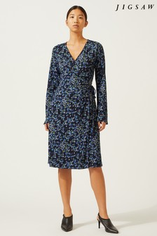 Jigsaw Blue Ikat Floral Wrap Dress