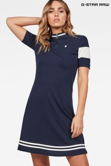 G-Star Blue Cergy Zip Slim Short Sleeve Dress