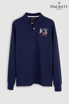 Hackett KIds Blue London Badge Long Sleeve Polo