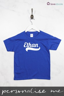 Personalised Boys Name Blue T-Shirt by Loveabode