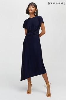 Warehouse Navy Slinky Wrap Waist Dress
