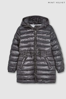 Mintie by Mint Velvet Navy Long Hooded Padded Coat