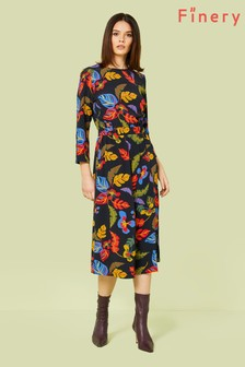 Finery London Black Lani Midi Dress