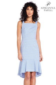 Adrianna Papell Blue Polka Dot Trumpet Skirt Dress