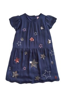 Joules Navy Sequin Party Dress