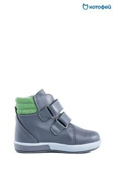 Серые кожаные кроссовки на двух липучках Kotofey