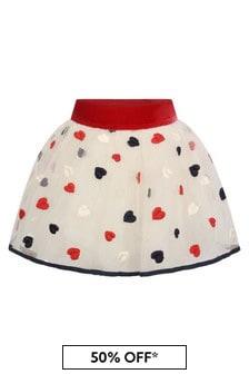 Monnalisa Baby Girls Ivory/Red Tulle Heart Skirt