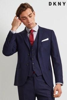 Jachetă DKNY slim fit texturată culoarea cernelii