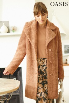 Oasis Worn by Frankie Mid Neutral Teddy Coat