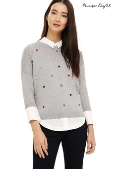 Phase Eight Grey Finley Embroidered Spot Knit Jumper