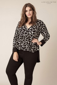Live Unlimited Black Printed Cross Over Draped Top