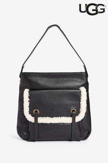 UGG® Black Leather Heritage Hobo Bag