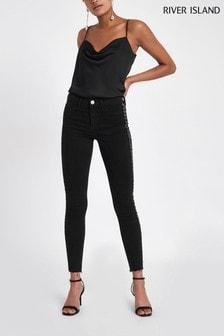River Island Molly Daffy Jeans mit mittelhohem Bund und verziertem Seitenstreifen, schwarz