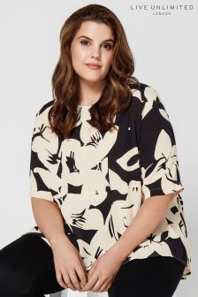 Live Unlimited Black  Stone Floral Morocain Top