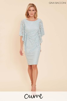 Gina Bacconi Blue Satina Lace Dress