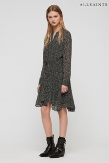 AllSaints Black Spot Print Martina Dress