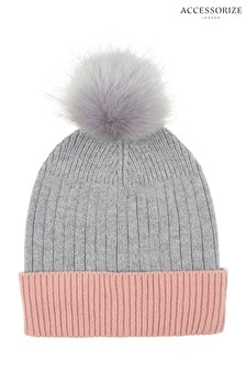 Accessorize Grey Contrast Turn-Up Pom Beanie