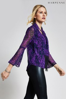 Harpenne Purple Animal Fringe Tie Blouse