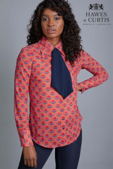 Hawes & Curtis Red And Blue Geo Print Shirt With Contrast Tie