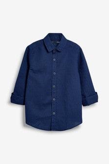 Рубашка из смеси льна с длинными рукавами (3-16 лет)