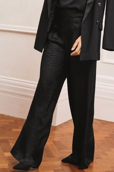 Emma Willis Wide Satin Jacquard Trousers