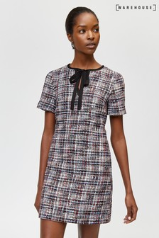 Warehouse Black Tweed Tie Neck Dress