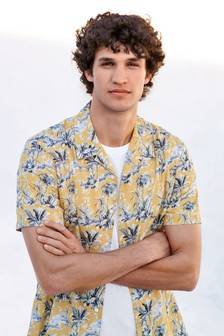 Short Sleeve Revere Collar Tropical Print Shirt