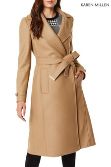 Karen Millen Camel New Wool Investment Wrap Coat