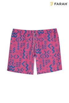 Farah Hot Pink Colbert Abstract Tribal Print Swim Short