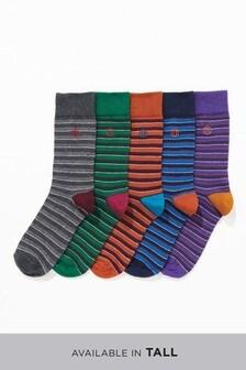 Stripe Embroidered Socks Five Pack